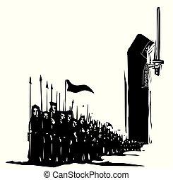 暗い, 木版, 軍隊