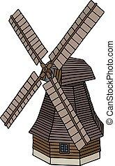 暗い, 木製である, 古い, 風車
