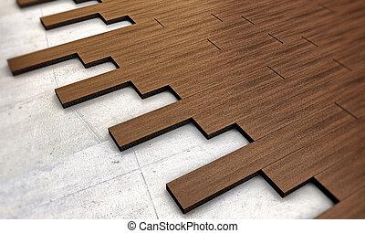暗い, 木製である, 寄せ木張りの床