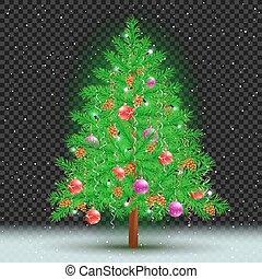 暗い, 木, クリスマス, 背景, 透明