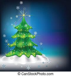 暗い, 木, 雪片, 背景, クリスマス