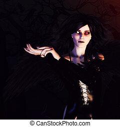 暗い, 森林, 天使
