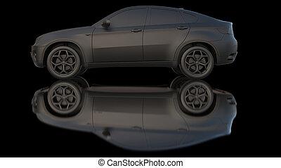 暗い, 自動車, 粘土, レンダリング, 3d
