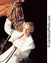 暗い, 花嫁, 馬, 若い