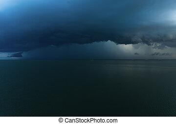 暗い, 落ちる, 雲, 雨, 海