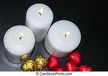 暗い, 蝋燭, 白い背景, 燃焼