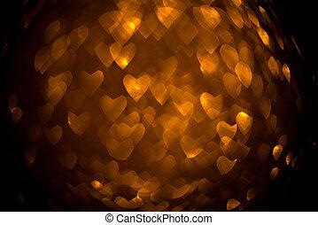 暗い, 金, heart., 形, bokeh, 背景