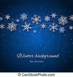 暗い 青, ベクトル, 冬, 背景