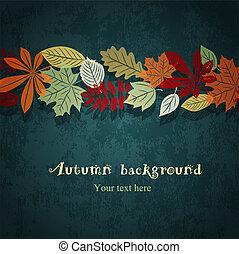 暗い 青, 秋, ベクトル, 背景