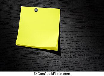 暗い, 黄色のノート, 木, ペーパー, 背景