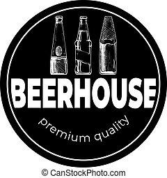 暗い, beerhouse, 型, ラベル, ラウンド