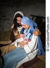 暗い, nativity, クリスマス場面
