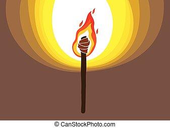 暗い, prometheus, イラスト, 炎, 火, ライト, 暗い, ベクトル, art., トーチ, 概念, 持って来なさい, illuminates, 寓意物語