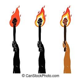 暗い, prometheus, 炎, イラスト, 火, 上げられた, ライト, ベクトル, 概念, 手, art., トーチ, 持って来なさい, 寓意物語, の上