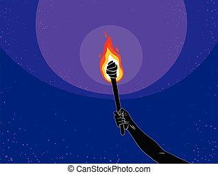 暗い, prometheus, 炎, イラスト, 火, 上げられた, ライト, ベクトル, 概念, 暗い, 手, art., トーチ, 持って来なさい, illuminates, 寓意物語, の上