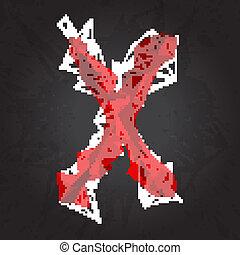 暗い, x, 紋章, 背景