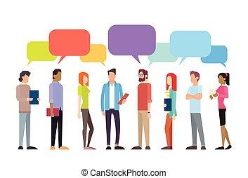 暫存工, 人們, 組, 閒談, 氣泡, 通訊, 社會, 网絡