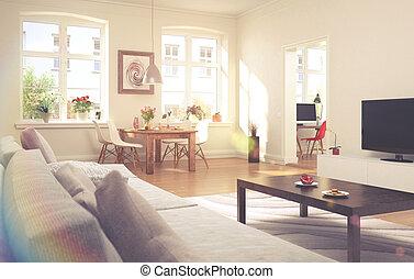 暮らし, アパート, 部屋, 型, -, 見なさい