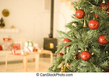 暮らし, クリスマス, 部屋, の間, 季節