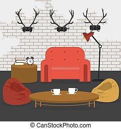 暮らし, グランジ, 部屋, furniture., 現代, イラスト, ベクトル, デザイン, interior., style.