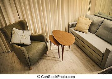 暮らし, コーヒー セット, 部屋, モジュール式である, 暖かい, ソファー, テーブル, 椅子の腕