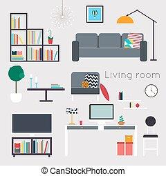 暮らし, コーヒー, 愛, ソファー, テーブル, room., 装飾, 席, 付属品, 含む, 肘掛け椅子, 家, ...