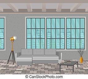 暮らし, スタイル, 屋根裏, concept., ソファー, デザイン, floor., 窓, 内部, 情報通, れんが, ランプ, 部屋