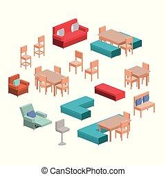 暮らし, セット, シルエット, 部屋, カラフルである, 上に, 食事をする, 背景, 白, 家具