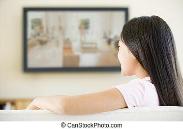暮らし, テレビ, 部屋, 平らなスクリーン, 若い 女の子