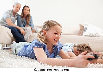 暮らし, ビデオゲーム, 背景, 子供, 親, ∥(彼・それ)ら∥, 遊び, 部屋
