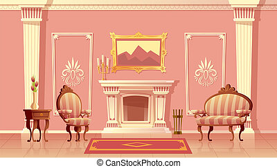 暮らし, ベクトル, 暖炉, 部屋, 贅沢