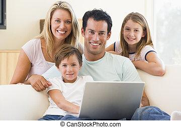 暮らし, ラップトップ, 部屋, 家族, 微笑