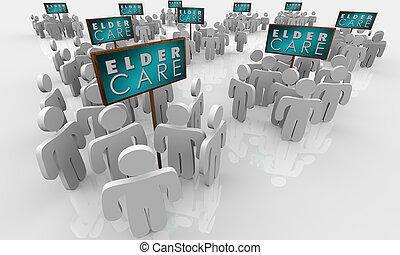 暮らし, 人々, 助けられる, より古い, 年配, 年長者, イラスト, サイン, ホームケア, 3d