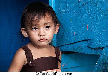 暮らし, 女の子, 窮乏, アジア人