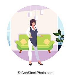暮らし, 女性実業家, 背景, 部屋, 白