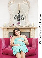 暮らし, 女, 部屋, 妊娠した, モデル, 微笑