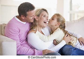 暮らし, 女, 部屋, 家族, 若い, 接吻, 女の子