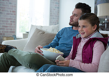 暮らし, 娘, 監視 テレビ, 父, 部屋