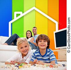 暮らし, 家, ライン, 子供, イラスト, 効率, あること, カーペット, 2, エネルギー, 客間