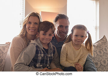暮らし, 家, 幸せ, モデル, ソファー, 一緒に, 家族 部屋