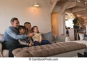 暮らし, 家, 監視 テレビ, 家族 部屋
