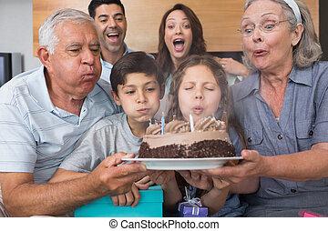 暮らし, 延長, 吹く, 蝋燭, ケーキ, 家族 部屋