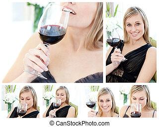 暮らし, 彼女, 美しい, コラージュ, ワイン, 保有物, appartment, ガラス, 女, 赤, 部屋