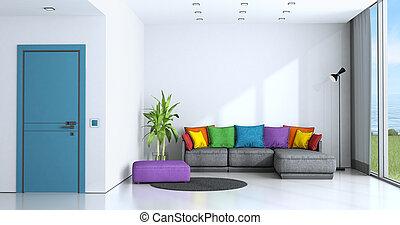 暮らし, 明るい, 部屋, カラフルである, ソファー