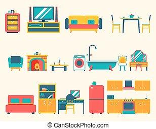 暮らし, 浴室, セット, 部屋, オフィスアイコン, 家, ラウンジ, 平ら, キャビネット, シンボル, ベクトル...