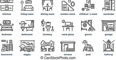 暮らし, 浴室, セット, 部屋, 単純である, 部屋, icons., 台所, ベクトル, pictograms., 寝室, 家, 線, 家具, アウトライン