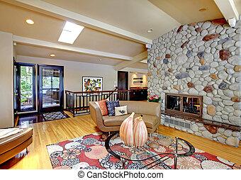 暮らし, 石, 部屋, 現代, 贅沢, 内部, 家, fireplace., 開いた