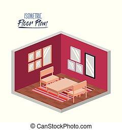 暮らし, 等大, シルエット, 部屋, カラフルである, 床, 木製である, 計画, カーペット, 家具