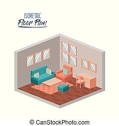 暮らし, 等大, シルエット, 部屋, カラフルである, 床, 木製の肘掛け椅子, ソファー, 計画, 家具