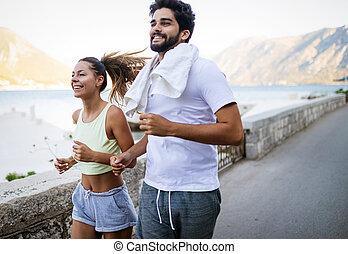 暮らし, 訓練, 健康, フィットネス, 一緒に, 屋外で, 活動的, 友人